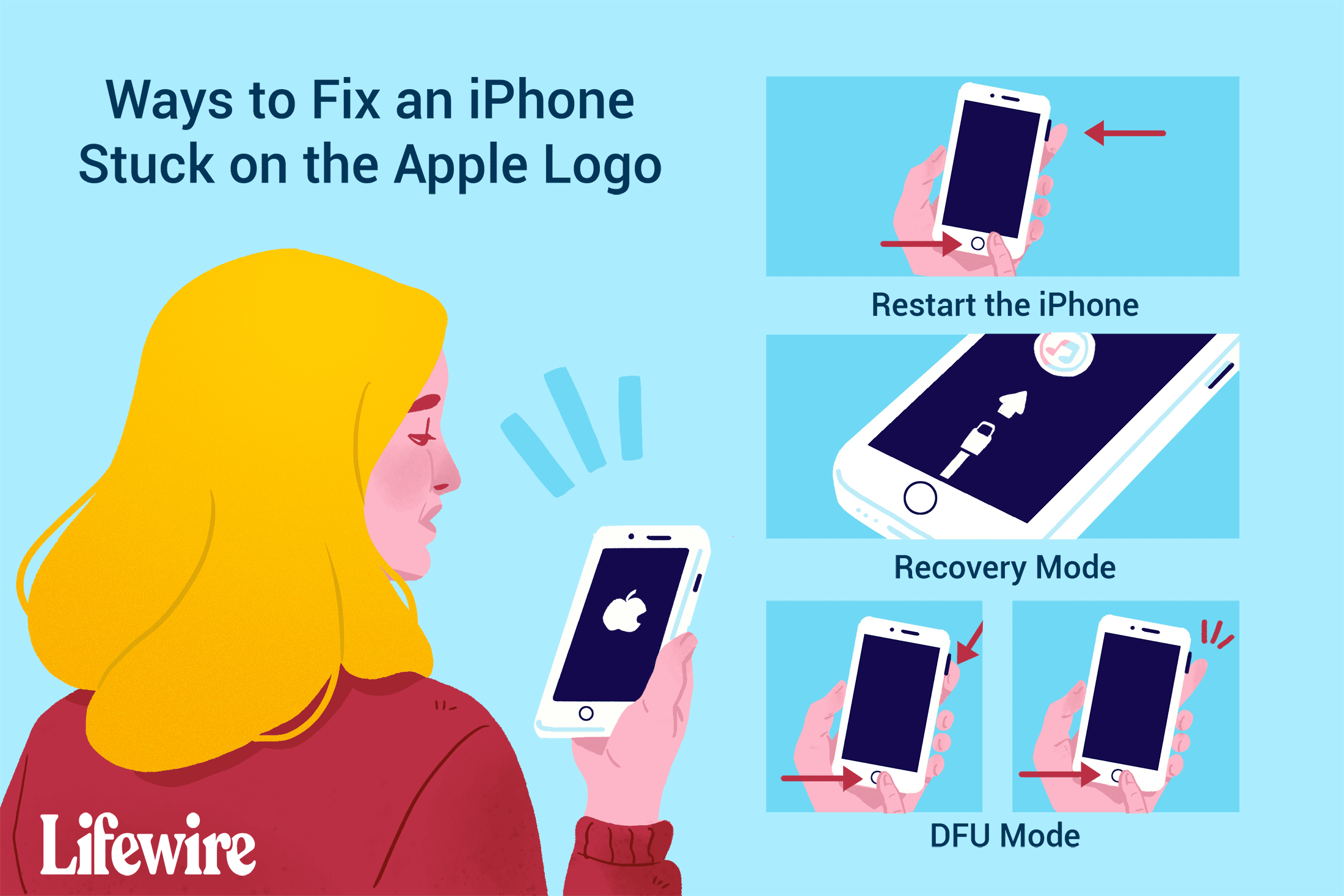 Ways to fix an iPhone stuck on the Apple logo.