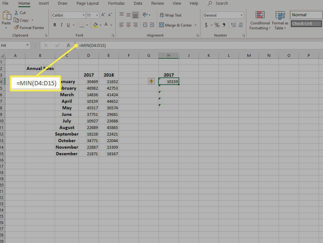 Screenshot of =MIN formula