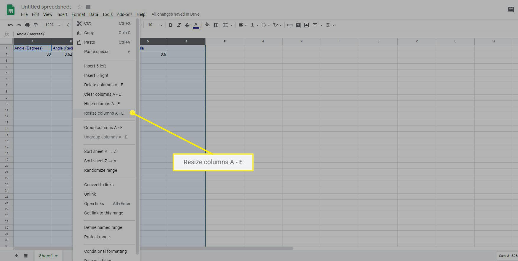 Resize Columns in Google Sheets