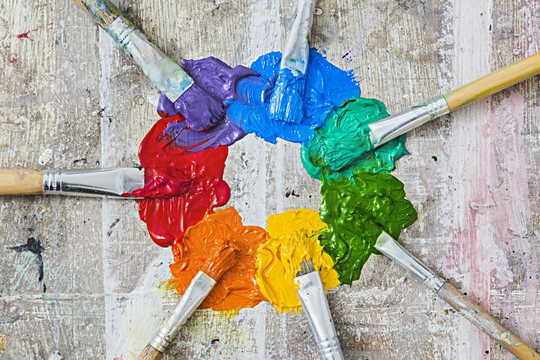 Color Wheel made from paint and paintbrushes