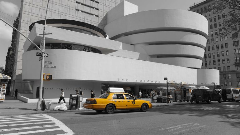 Guggenheim with accented cab in front