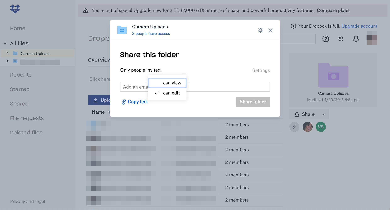 Dropbox sharing options