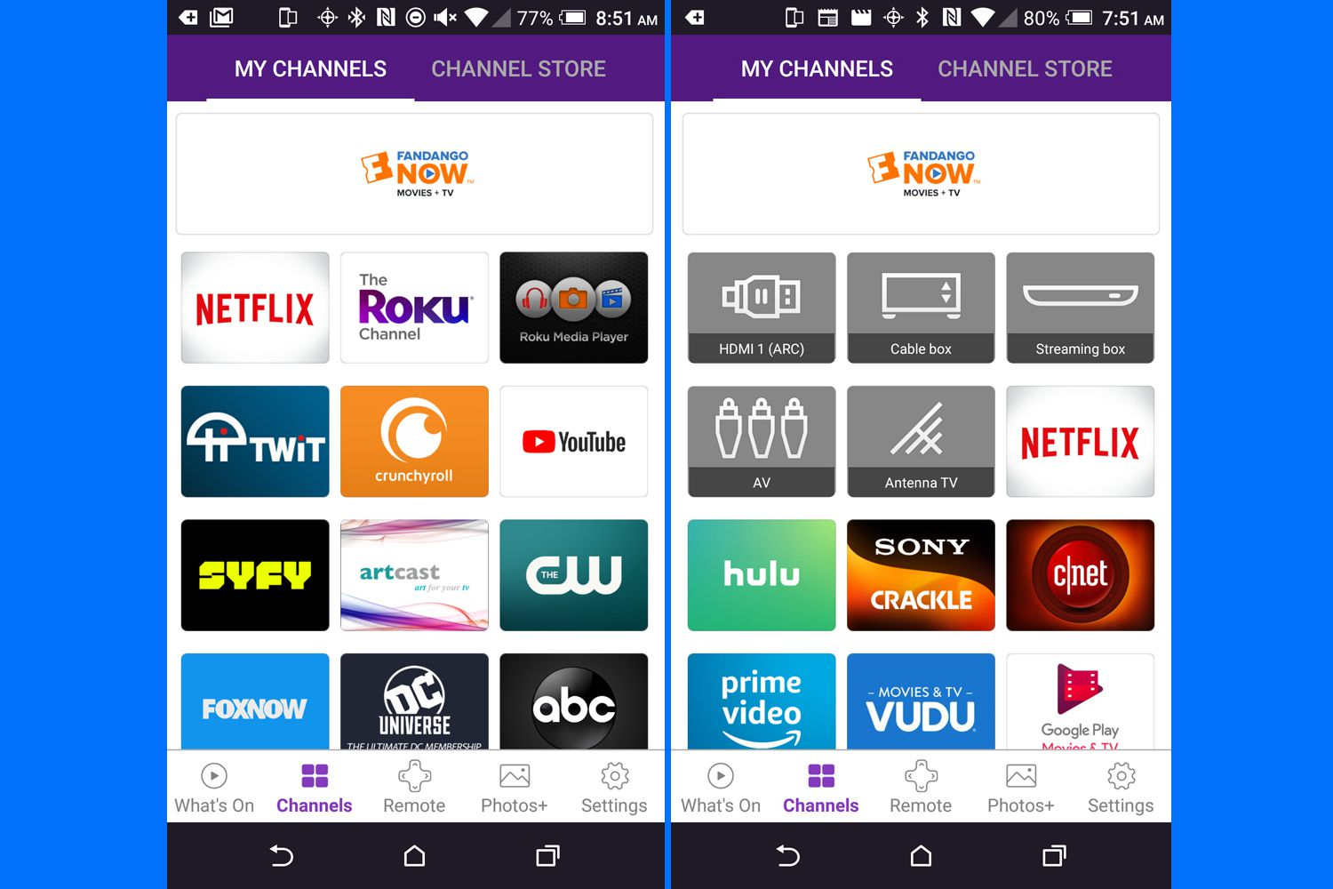 Roku Mobile App My Channels/Home Screen