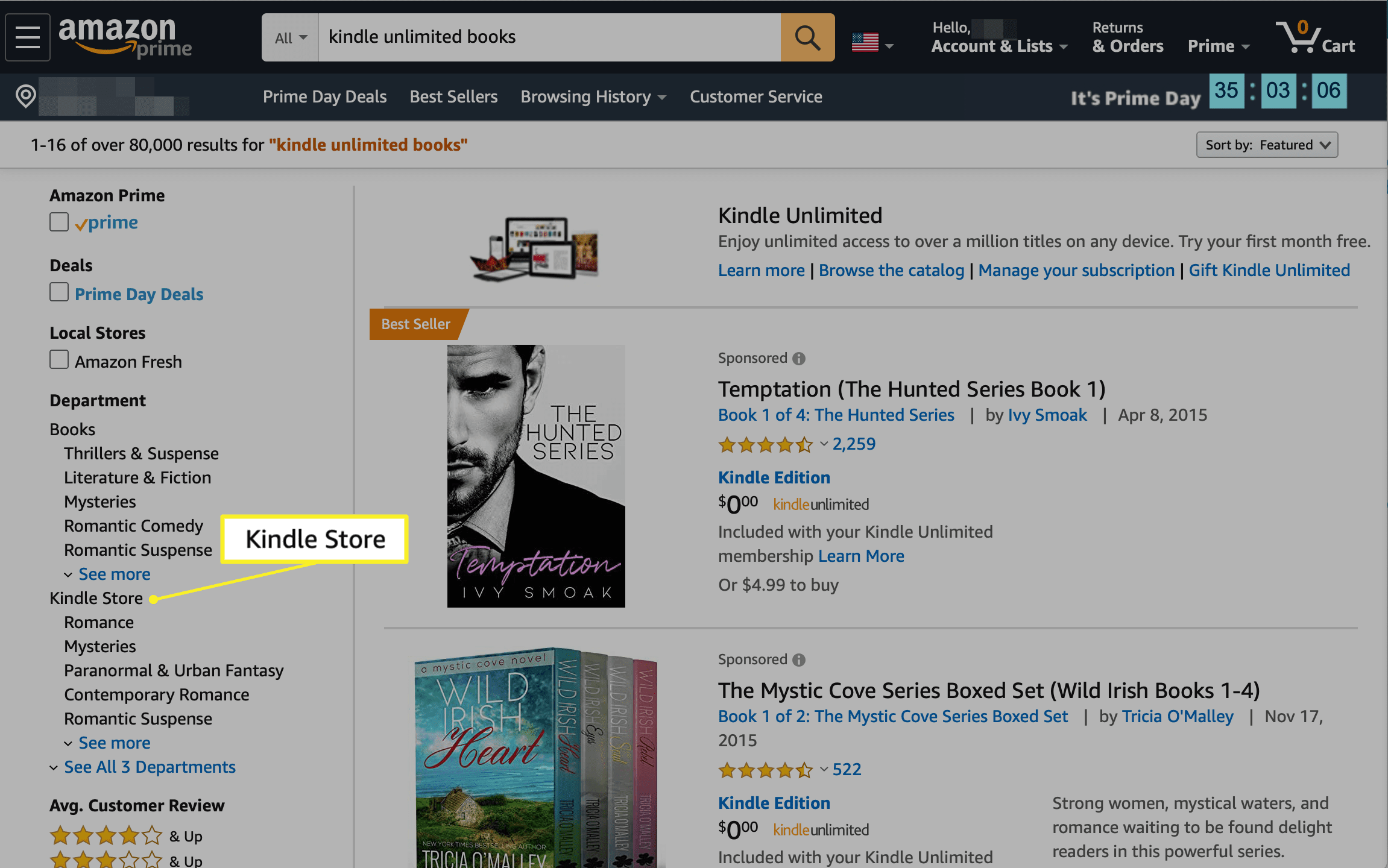 Kindle Store selected in the Departments section of Amazon