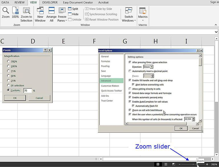 Zoom Options in Excel: Zoom Slider and Zooming with the the Keyboard
