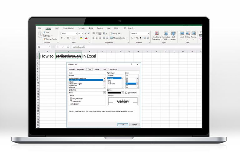 A screenshot of Excel showing an example of strikethrough feature.