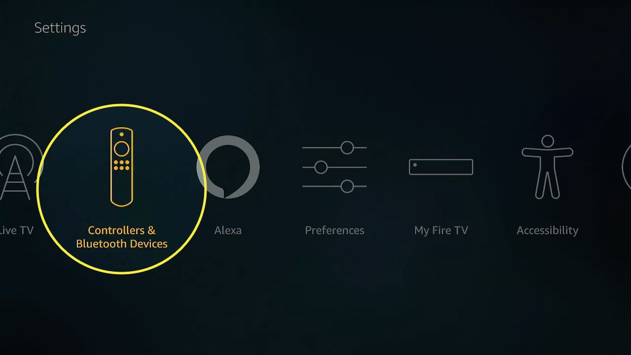 Controllers and bluetooth devices highlighted in Fire Stick settings.