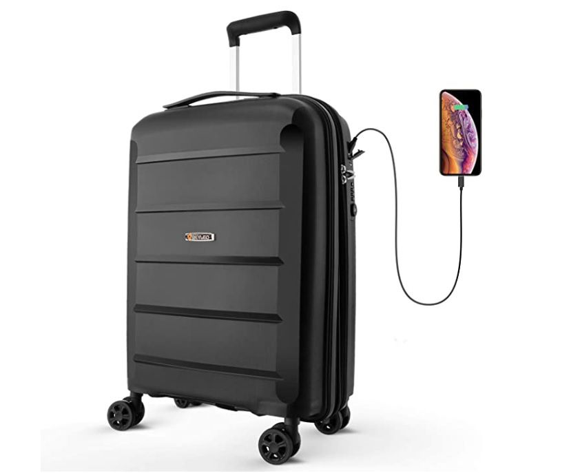 Black USB suitcase illustrating its ability to charge a smartphone