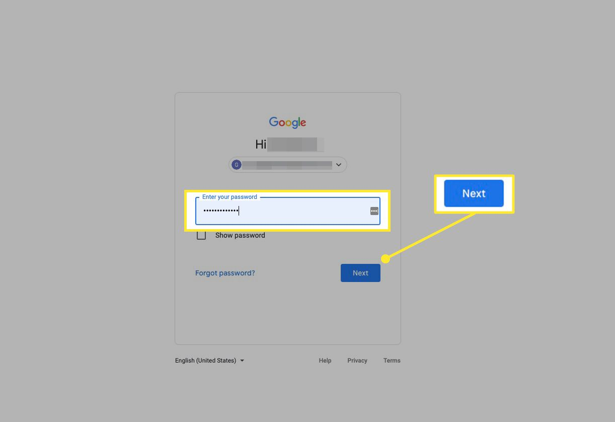 Google account sign-in with password field and