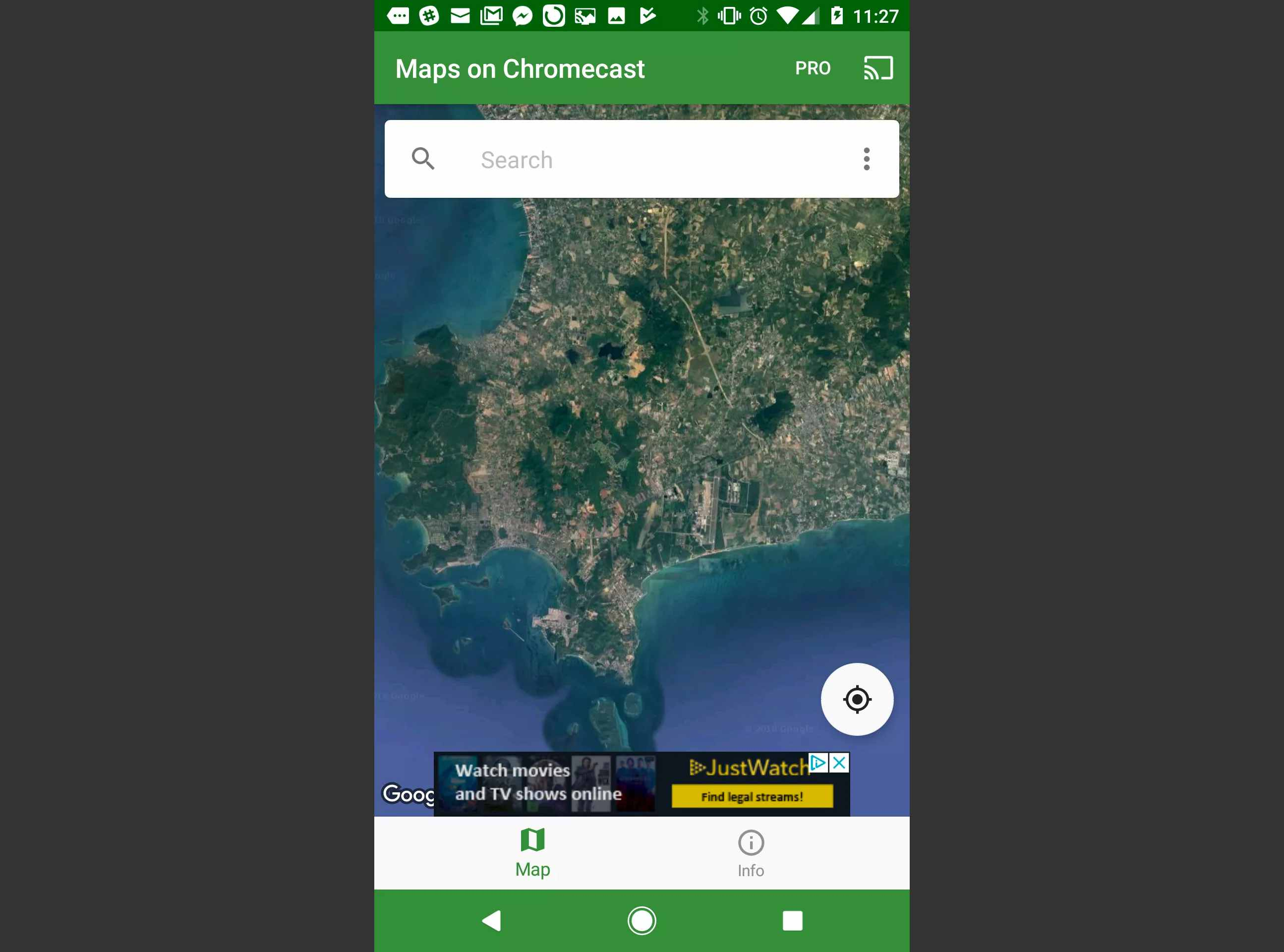The Maps on Chromecast map search window