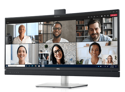 Dell's new video conferencing monitor with a MS Teams meetings on the display