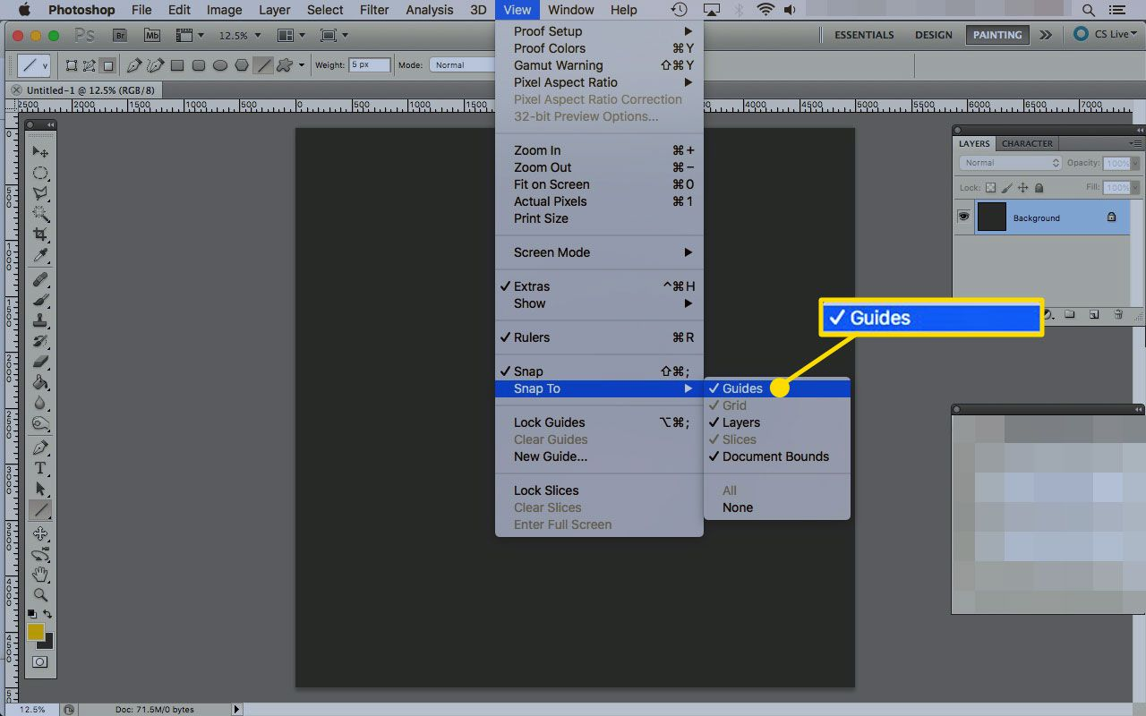 The Snap to Guides option under the View menu in Photoshop