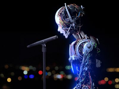 A robot speaking into a microphone.