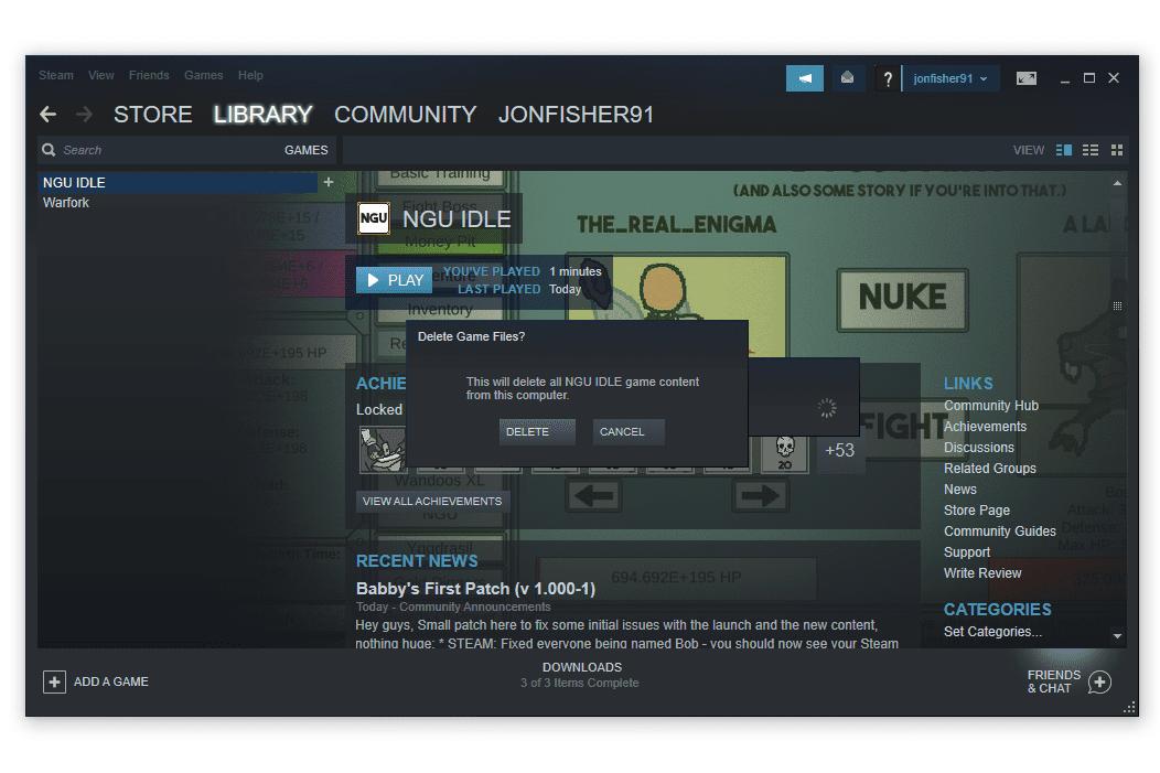 Steam delete game files prompt