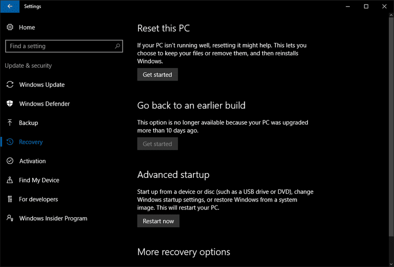 windows 10 recovery key combination