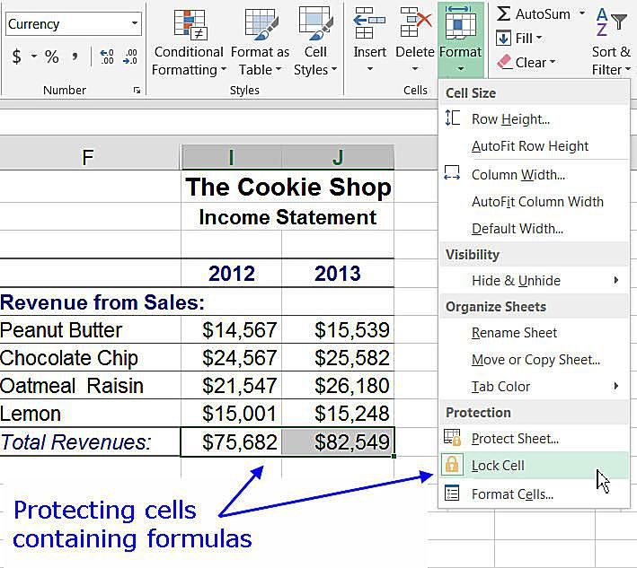 excel cell locked property