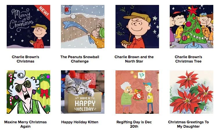 Hallmark electronic Christmas card options