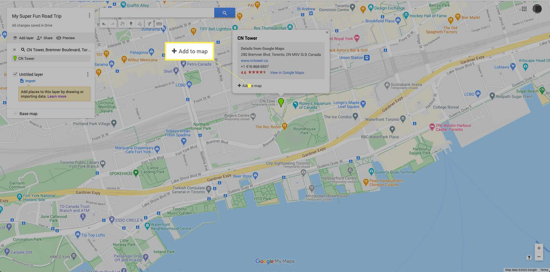 Adding locations in Google My Maps