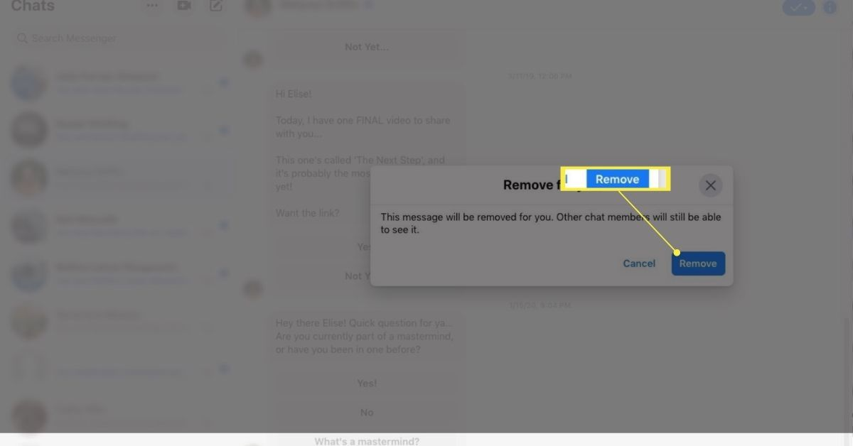 Remove confirmation in Facebook chat.