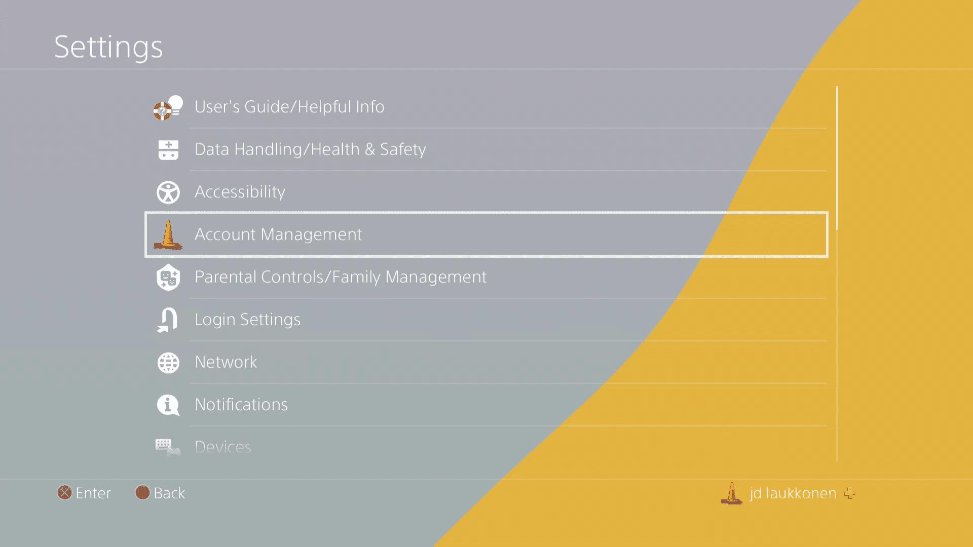 A screenshot of PS4 settings.