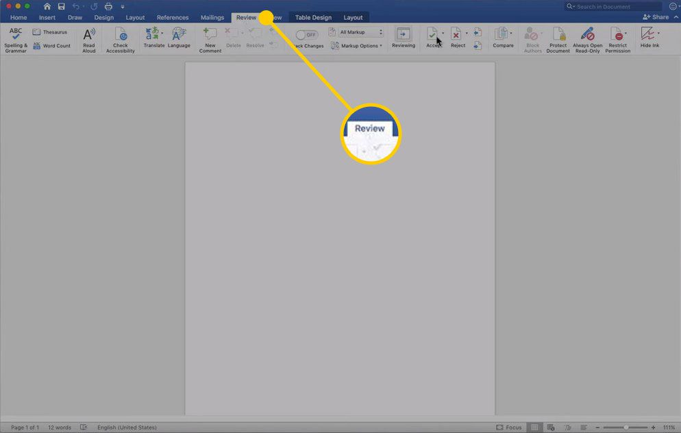 Review tab in Word for Mac