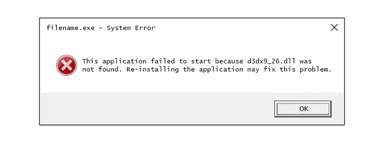 Screenshot of a D3dx9_26 DLL Error Message in Windows