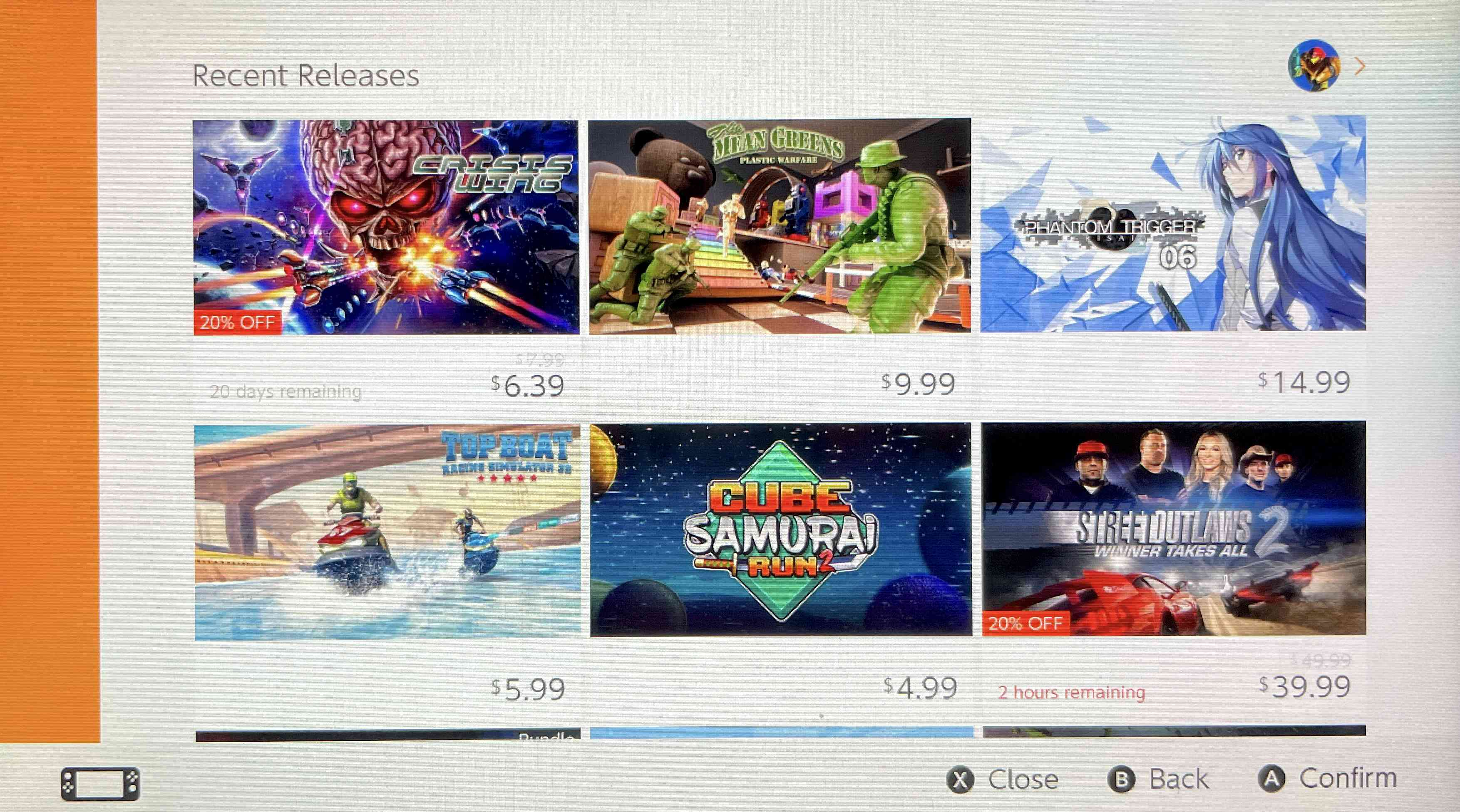 A screenshot of the Recent Releases in the Nintendo E-Shoppe.