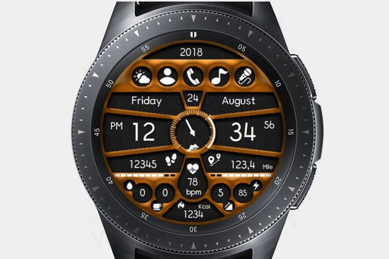 ACD Fitness Time watch face on a Samsung Galaxy watch