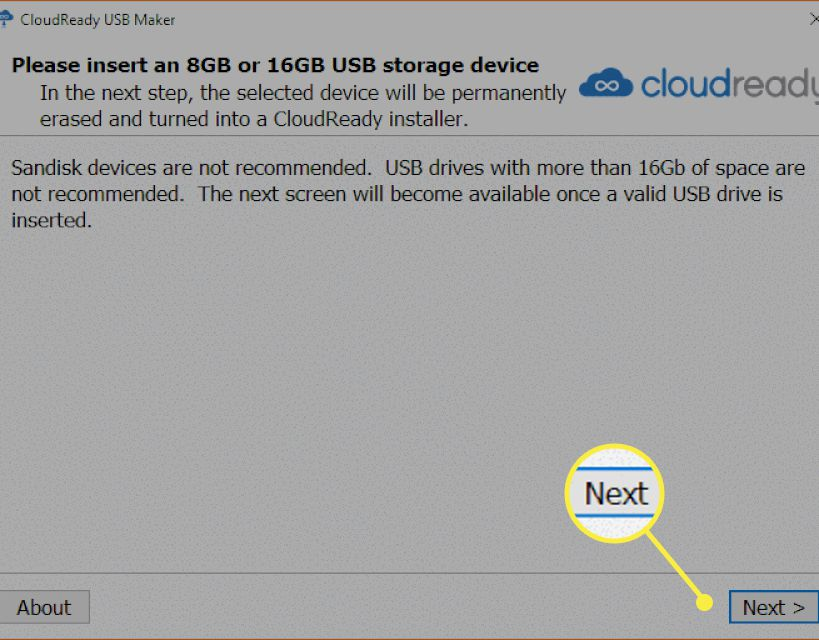 The Cloudready installer with the Next button highlighted