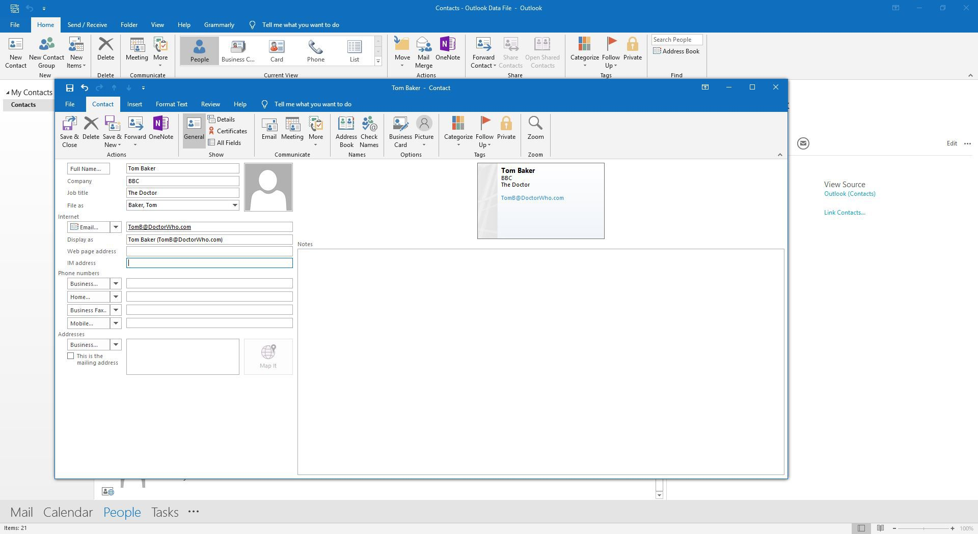 How to Create a vCard in Microsoft Outlook