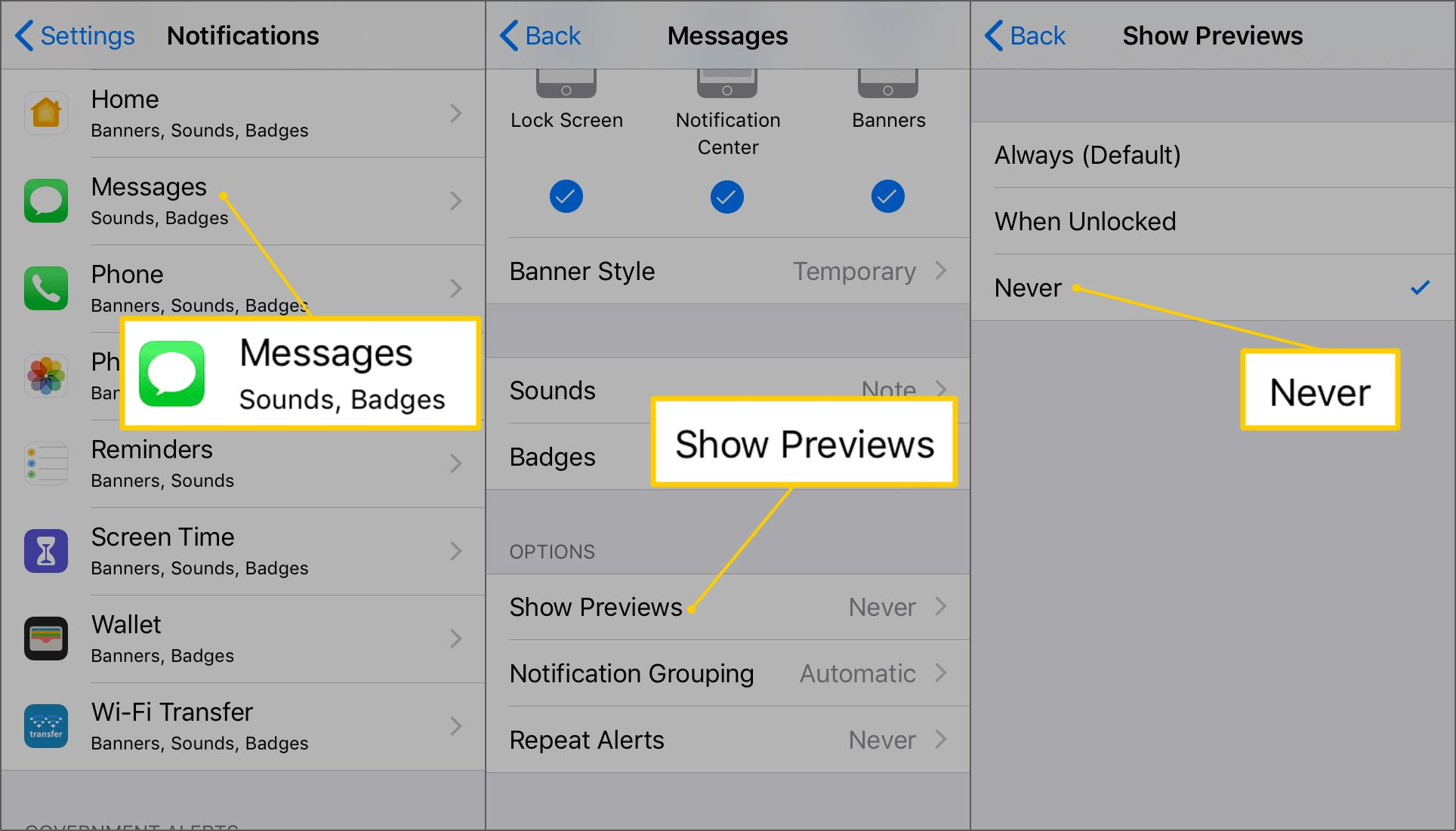 How to Turn off Message Preview on iPhone