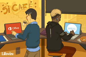 Illustration showing people using Microsoft Office and iWork