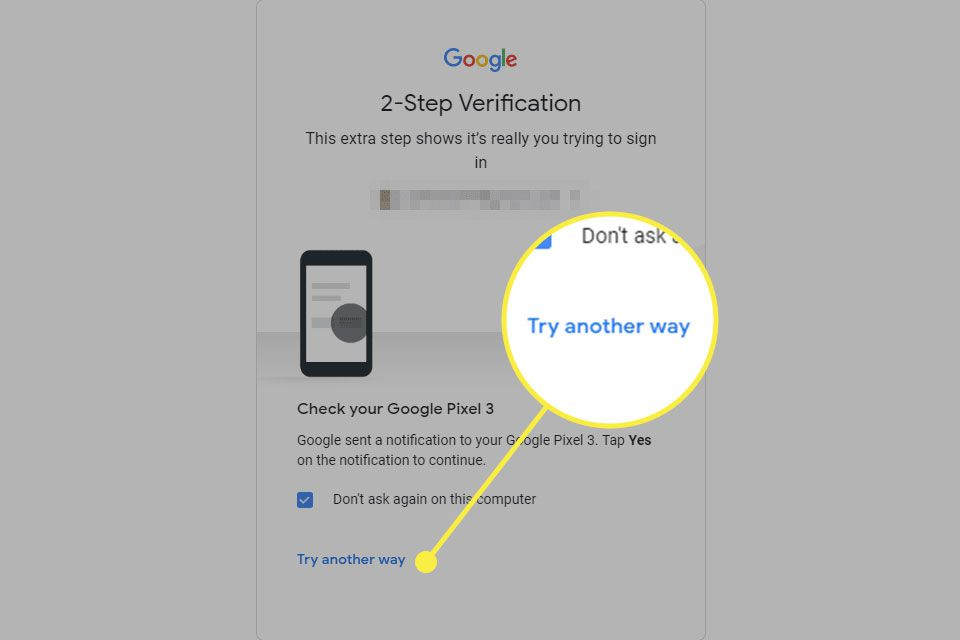 A screenshot of Google sign-in with the Try Another Way option highlighted