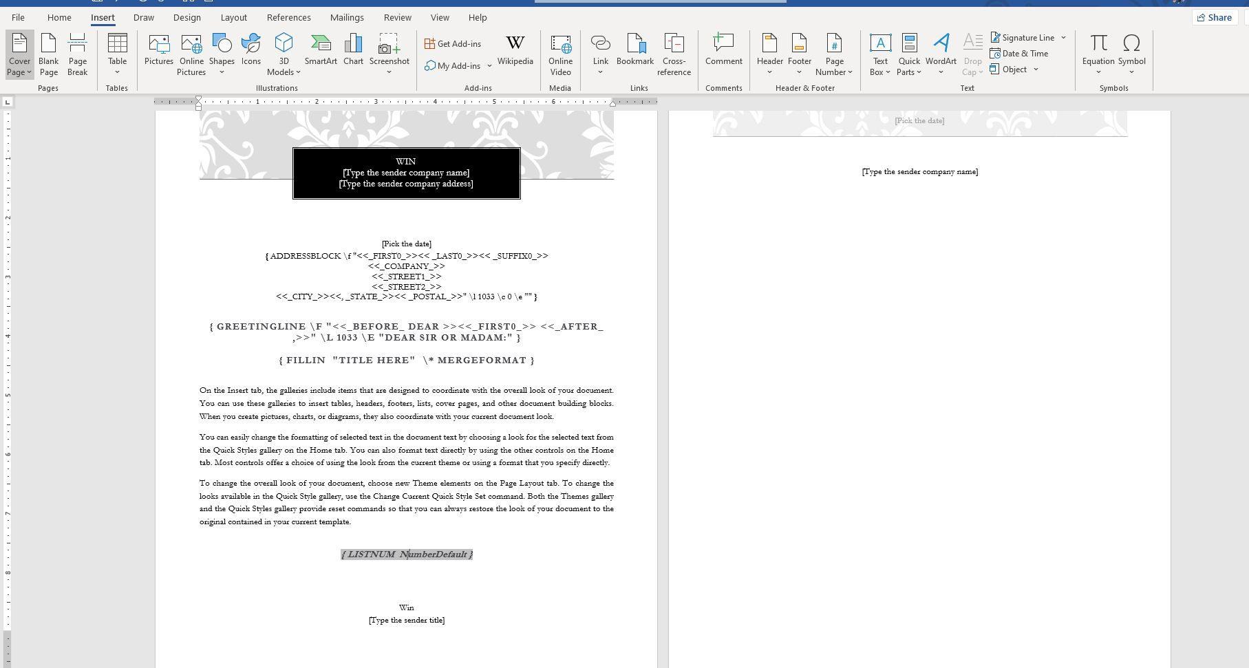 Screenshot of fields in mail merge document