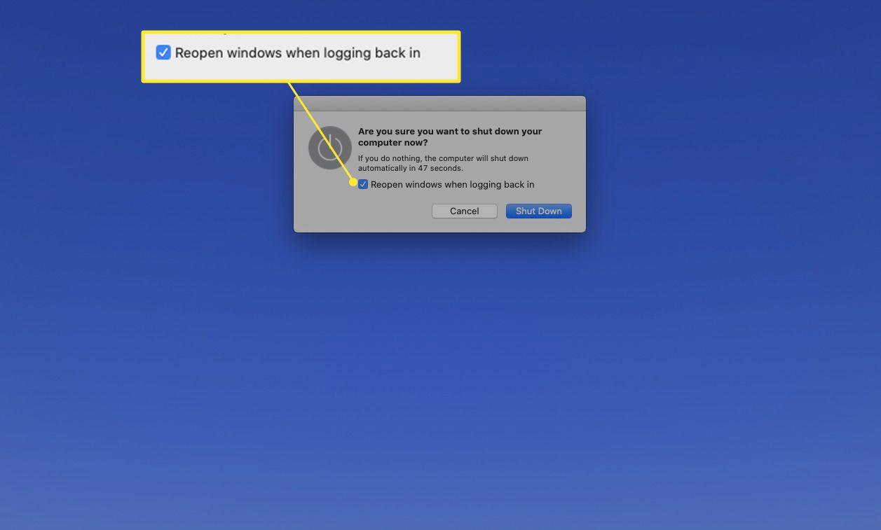 Mac shutdown box with