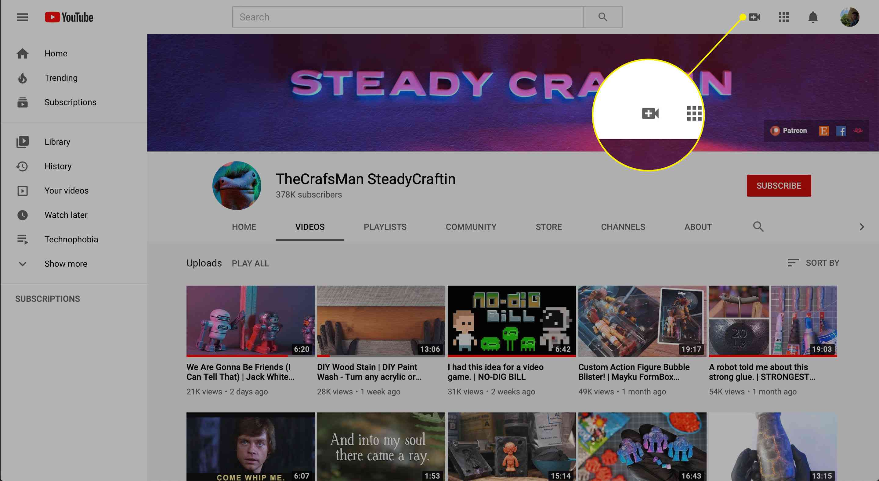 The Create button on YouTube