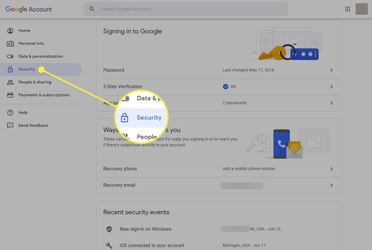 A screenshot of a Google Account page with the Security tab highlighted