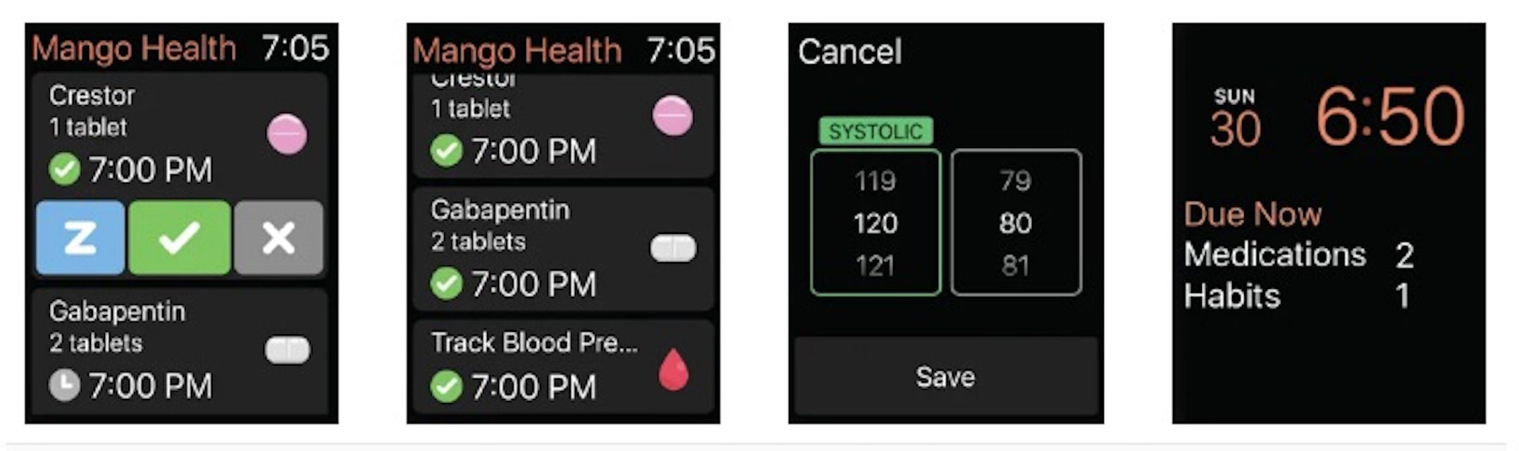 Mango Health medication reminder app for Apple Watch