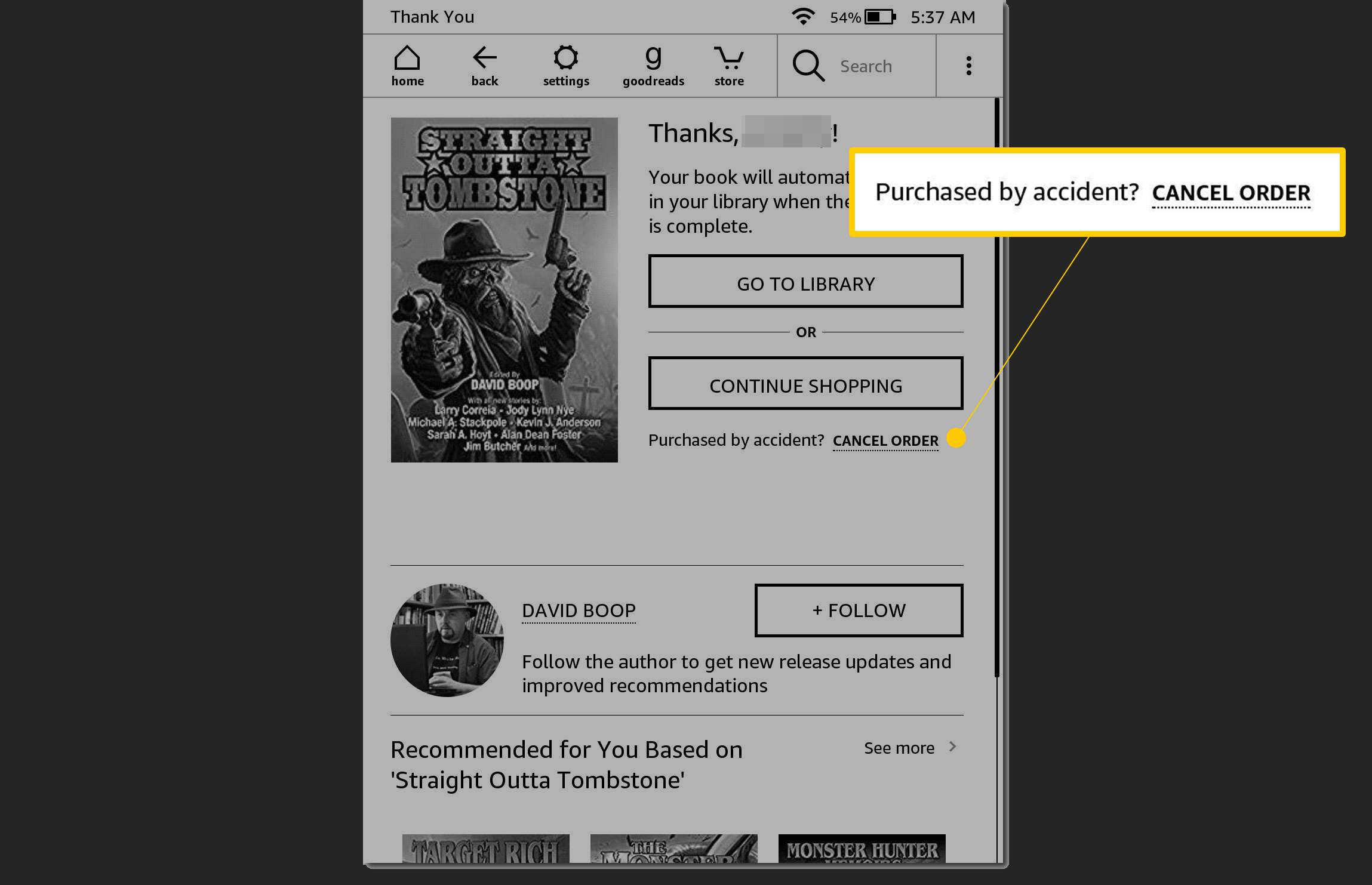 Purchased by accident? Cancel Order link on Kindle