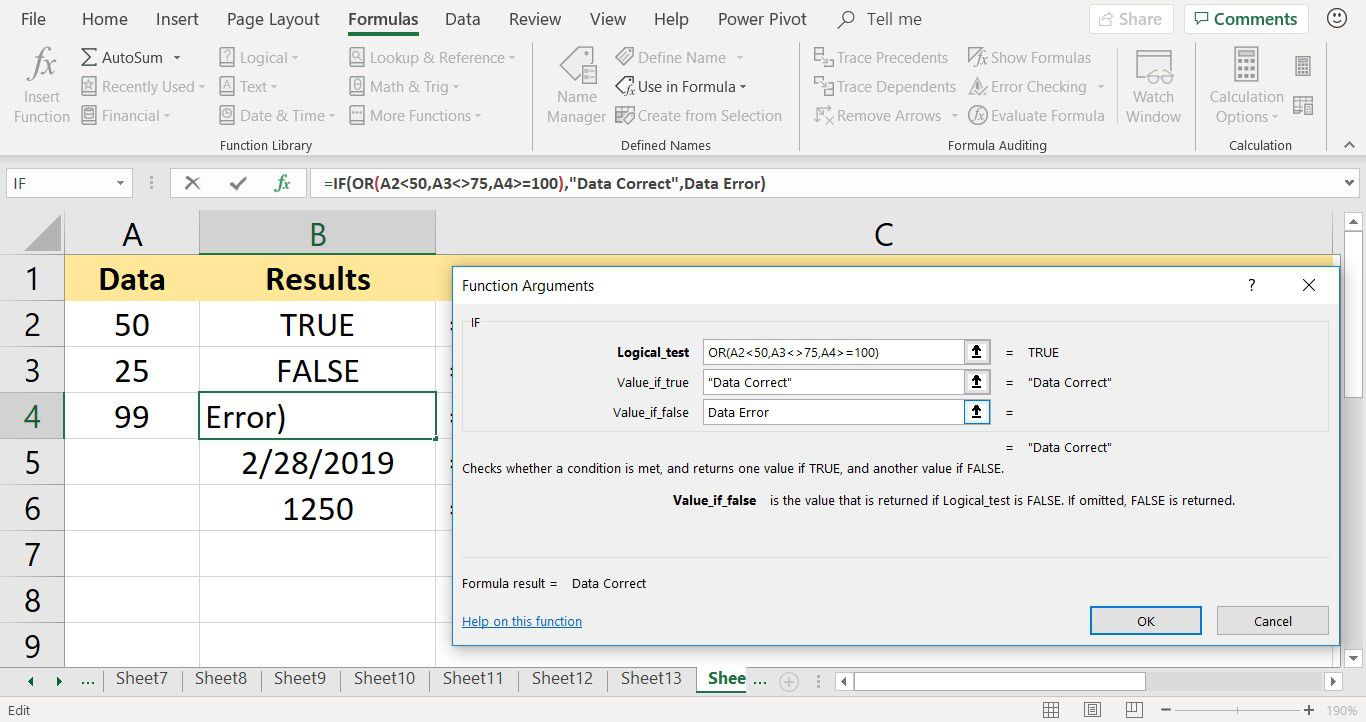 A screenshot showing how to nest the OR function inside the IF function in Excel