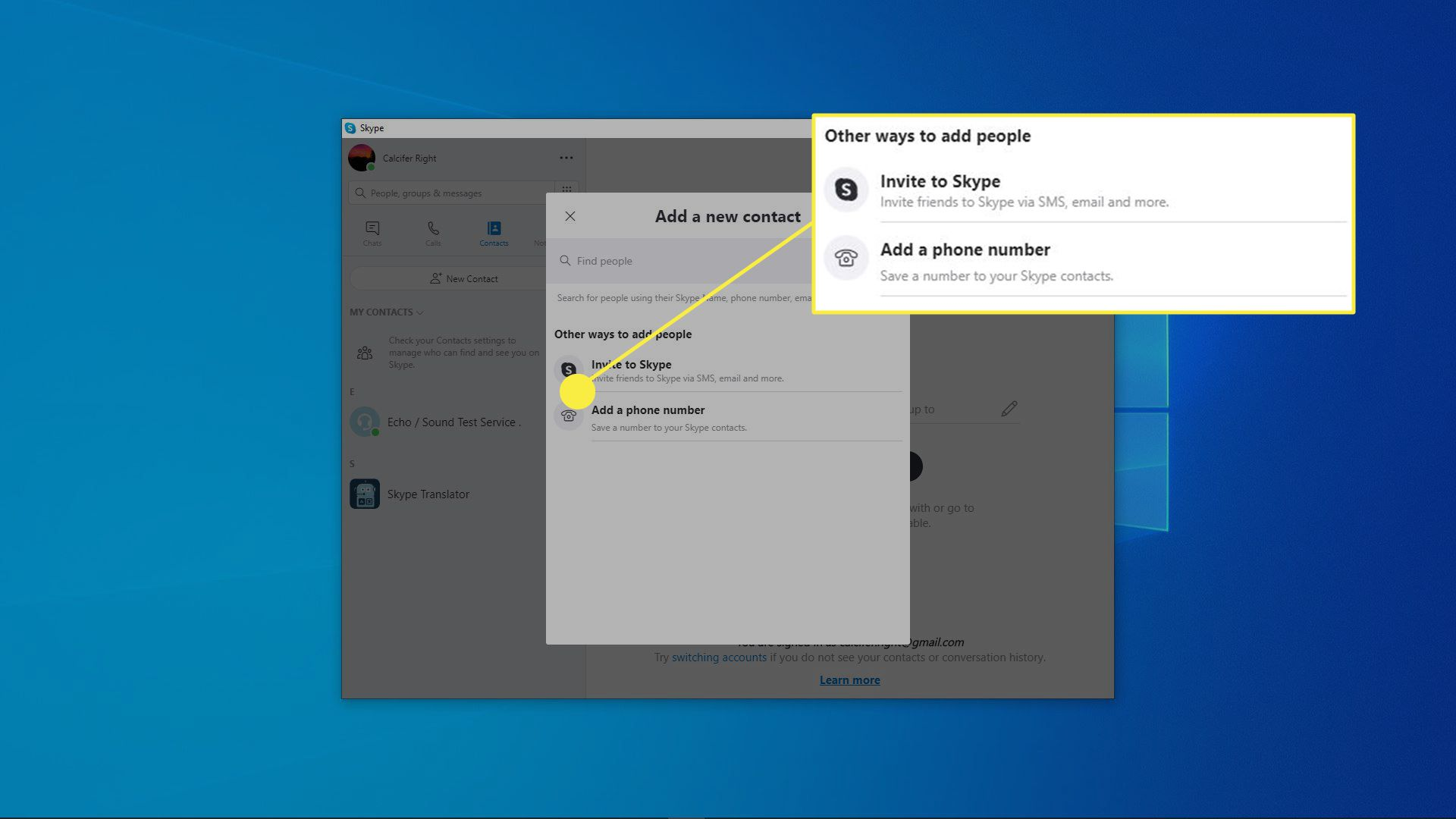 The add a new contact menu in Skype.