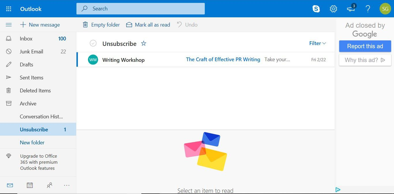 The Unsubscribe folder added to Outlook.com by Unsubscriber