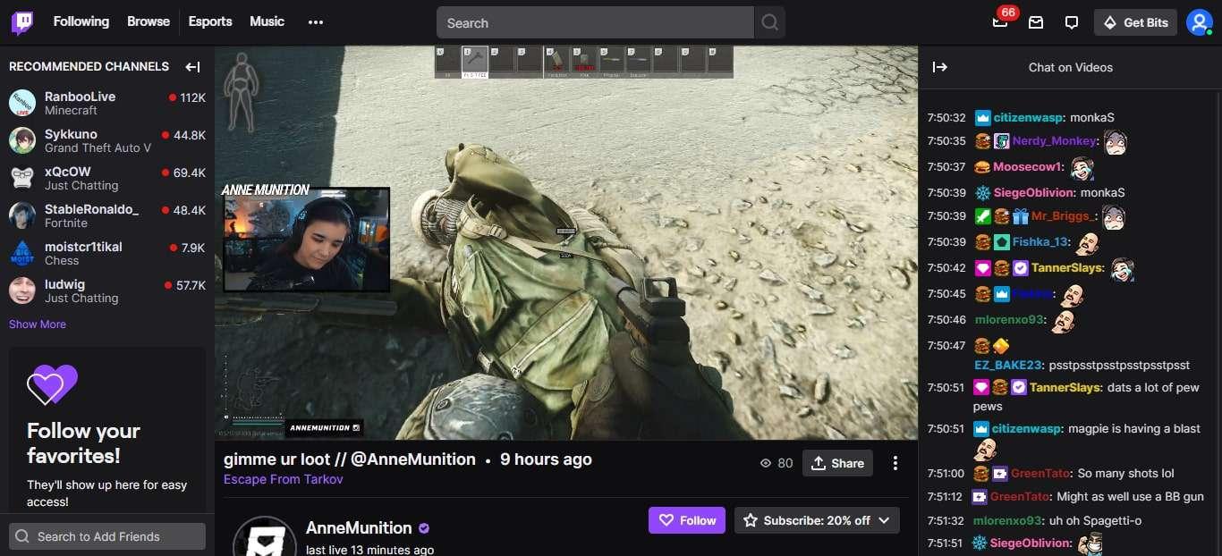 AnneMunition on Twitch