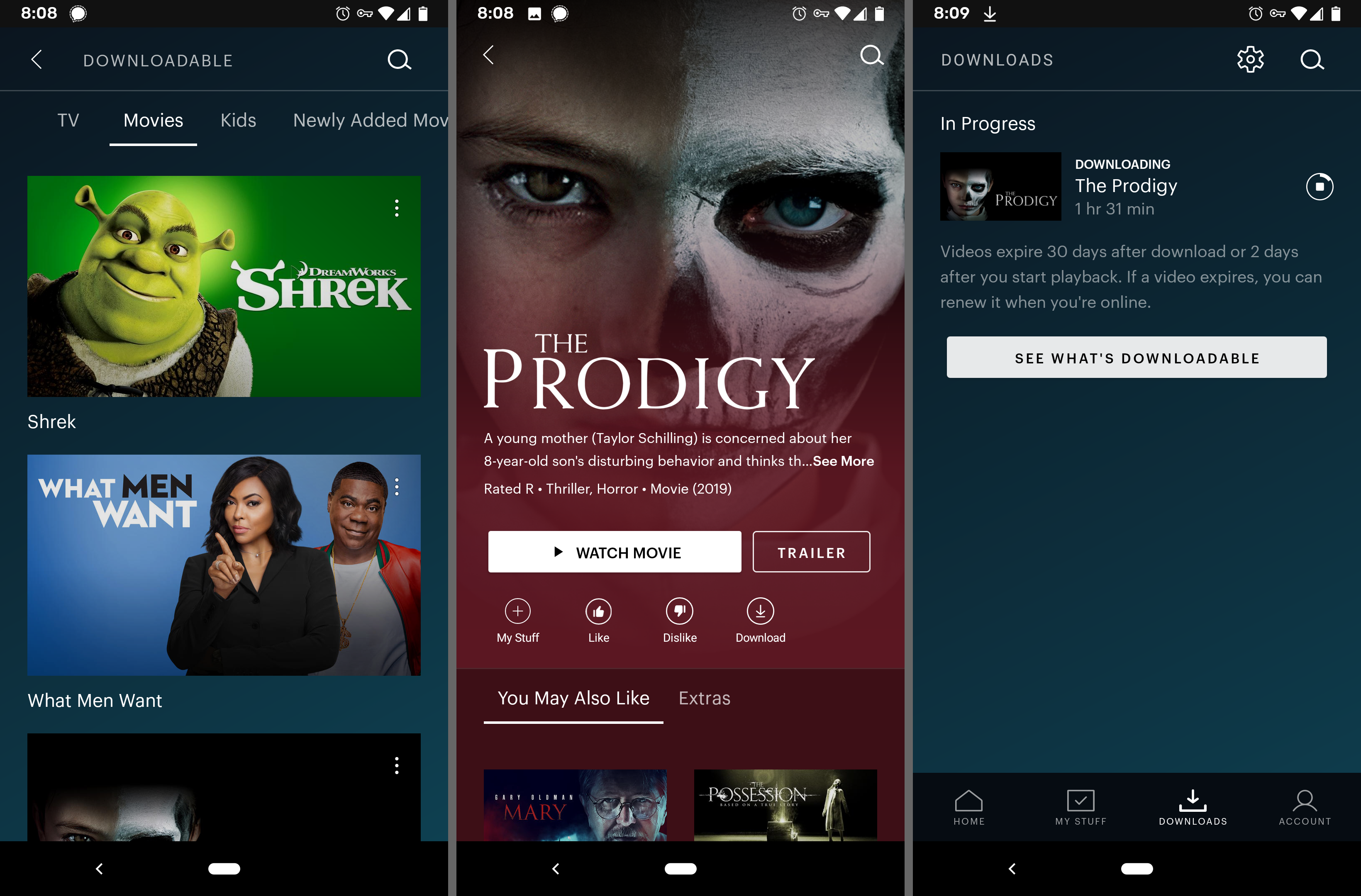 Hulu app downloading a movie on Android
