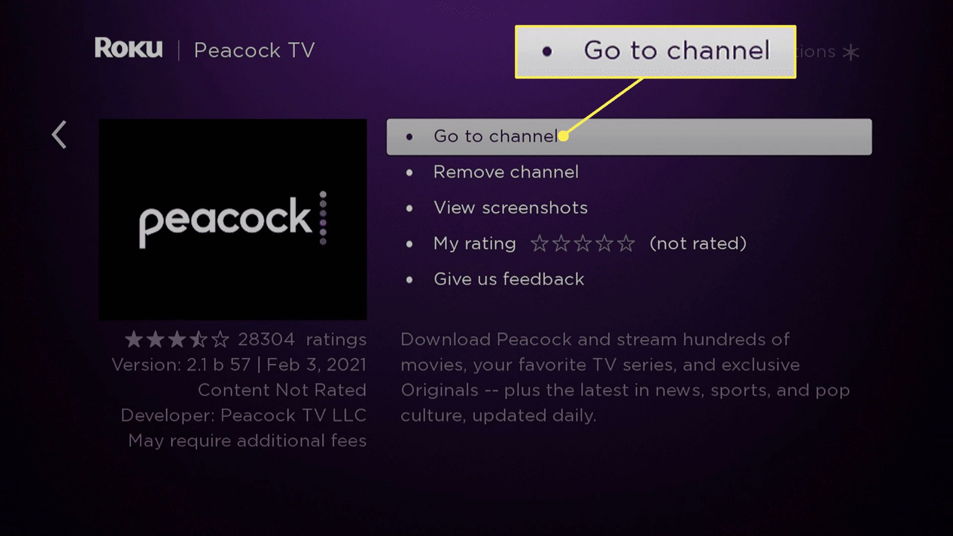 Go to channel highlighted on Peacock TV on Roku.