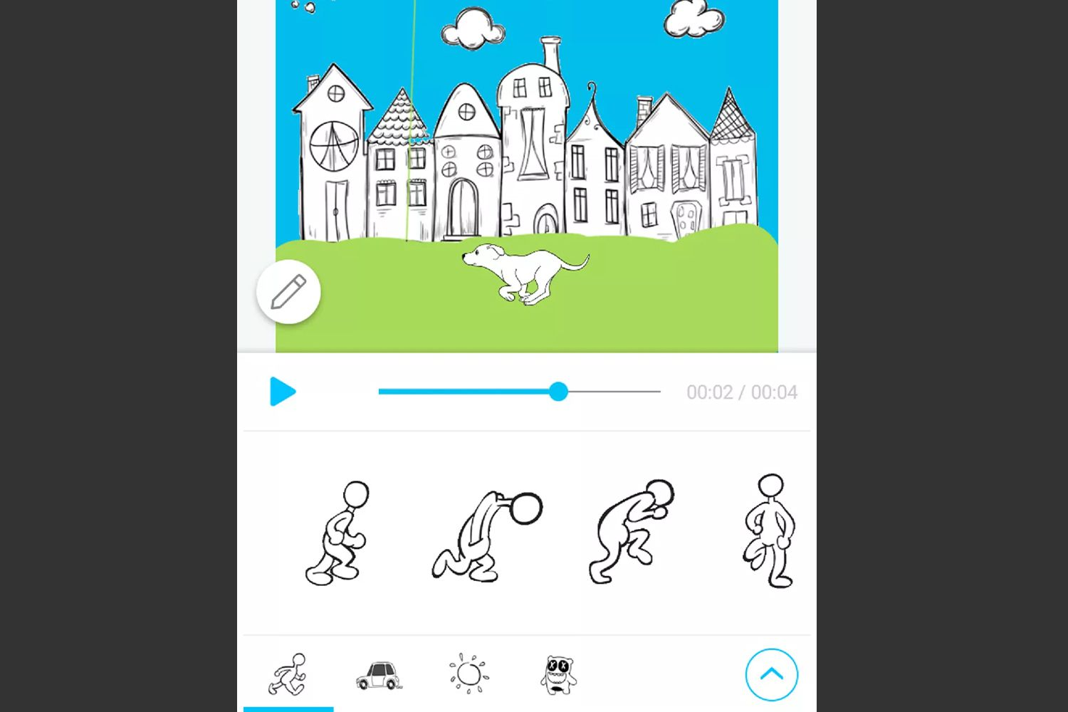 PicsArt Animator's video editor, showing a preview of a short video made using a pre-made background with an animated sticker added on