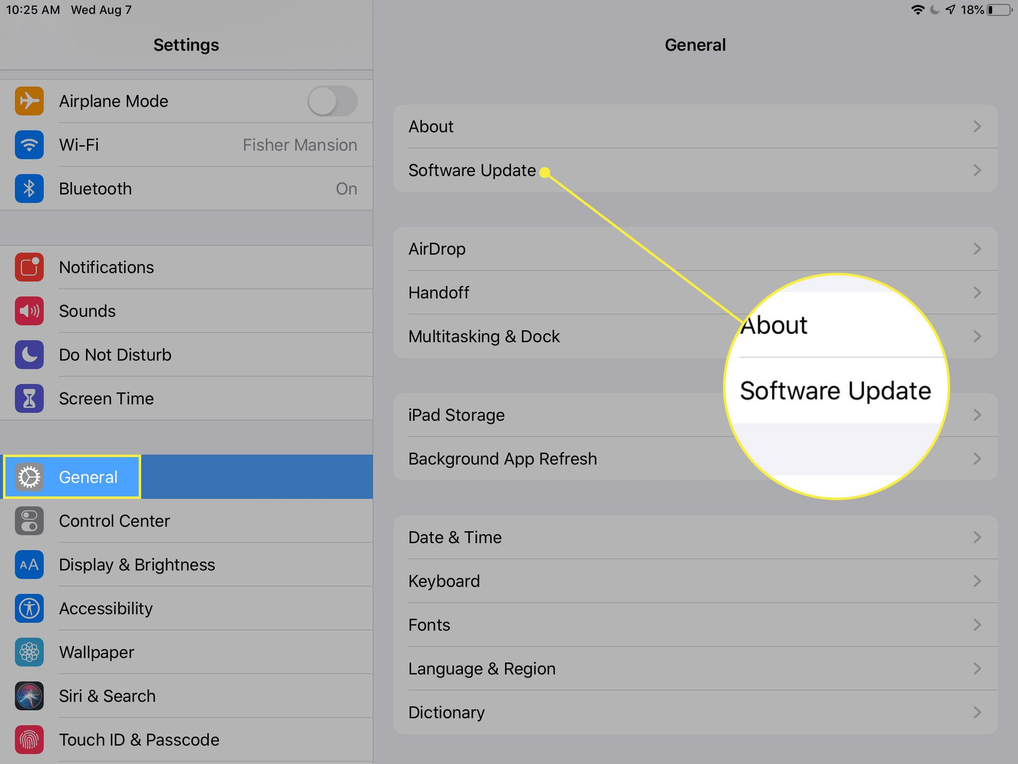 A screenshot of iPad settings with the General heading and Software Update option highlighted