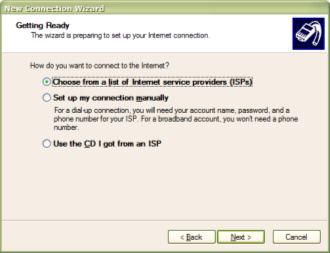 Windows XP New Connection Wizard - Internet