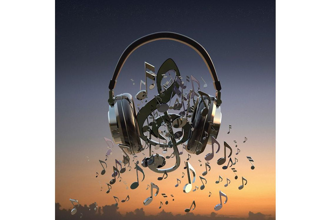 A pair of headphones with music notes pouring out of them