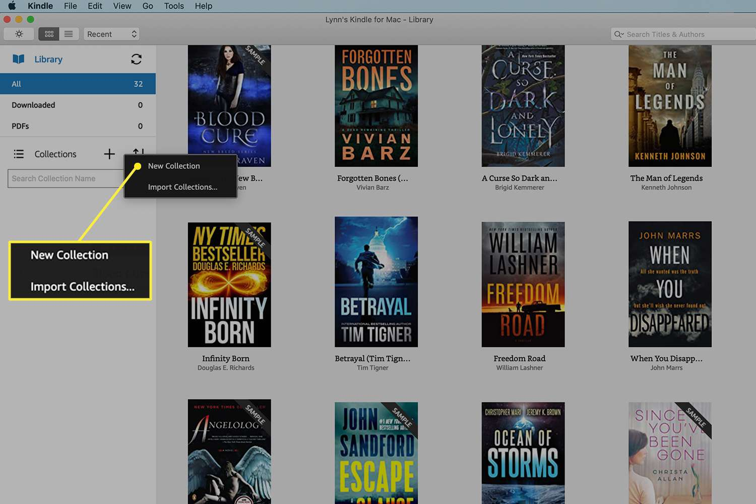Kindle App for Mac with the New Collection button highlighted